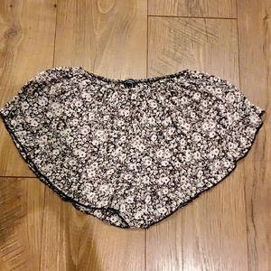 Brandy Melville Black Floral Vodi Shorts OS